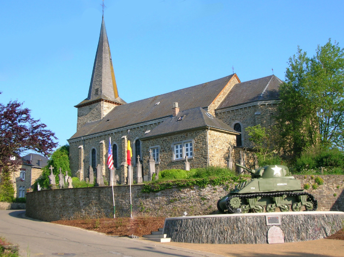 church and sherman tank in Wibrin